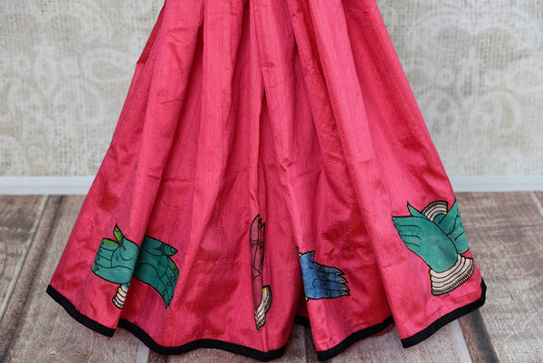Buy pink hand printed raw silk Kalamkari sari online with a readymade blouse from Pure Elegance or visit our store in USA. Shop pure woven Indian sarees online in USA.-pleats
