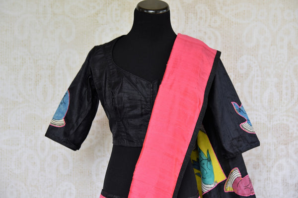Buy pink hand printed raw silk Kalamkari sari online with a readymade blouse from Pure Elegance or visit our store in USA. Shop pure woven Indian sarees online in USA.-pallu