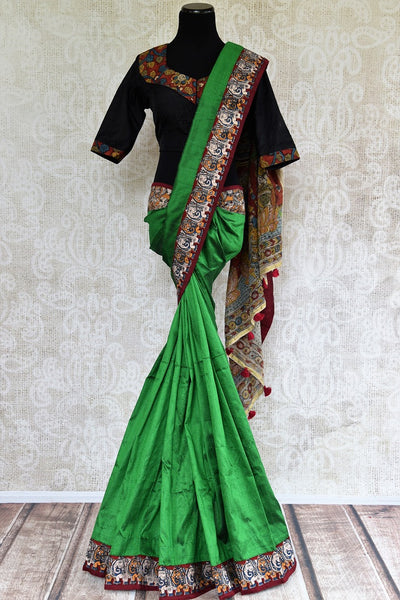 Buy green hand printed Kalamkari saree online with black readymade blouse from Pure Elegance or visit our store in USA. Shop beautiful Indian sarees online in USA.-full view