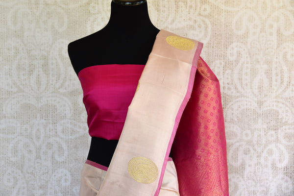 Pure Elegance store brings you hand woven Indian Kanchipuram saris online for weddings. Buy off white Kanjivaram silk sari online in USA with zari buta & pallu.-pallu