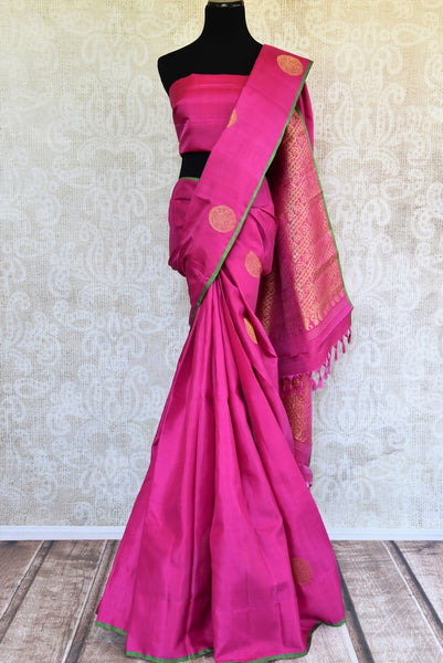 Buy pink Kanjivaram silk sari online in USA with zari buta. Pure Elegance store brings you exquisite woven Indian Kanchipuram sarees online for weddings and other occassions.-full view