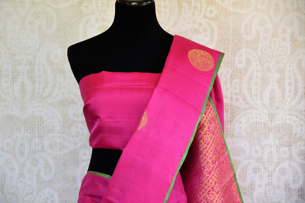 Buy pink Kanjivaram silk sari online in USA with zari buta. Pure Elegance store brings you exquisite woven Indian Kanchipuram sarees online for weddings and other occassions.-pallu