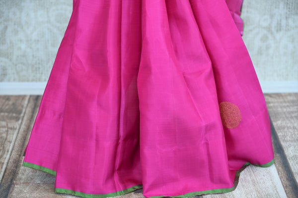 Buy pink Kanjivaram silk sari online in USA with zari buta. Pure Elegance store brings you exquisite woven Indian Kanchipuram sarees online for weddings and other occassions.-pleats