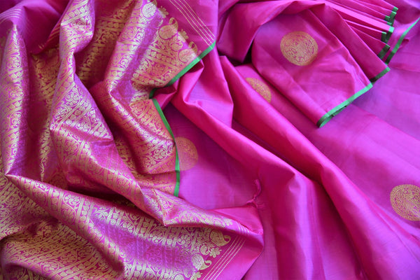 Buy pink Kanjivaram silk sari online in USA with zari buta. Pure Elegance store brings you exquisite woven Indian Kanchipuram sarees online for weddings and other occassions.-details