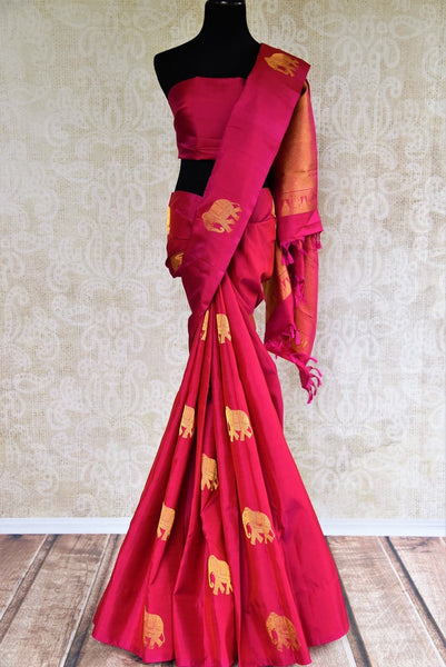 Pure Elegance store brings woven Indian Kanchipuram sarees online in USA for weddings. Buy pink pure Kanjeevaram silk saree online with gold zari elephant butas. -full view