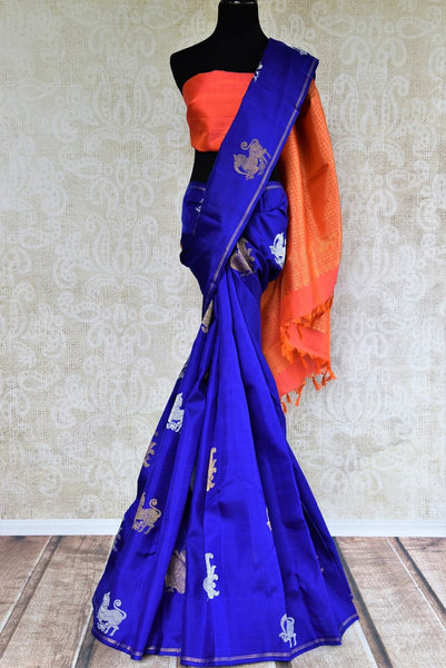 Pure Elegance store brings woven  Indian Kanchipuram sarees in USA for weddings. Buy blue and orange Indian Kanjivaram silk saree online in USA with zari butas. -full view
