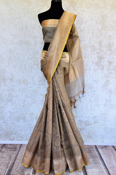 Buy brown organza Banarasi saree online from Pure Elegance. Our store in USA brings exclusively curated woven Indian Banarasi sarees online for women in USA. Shop now.-full view