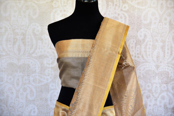 Buy brown organza Banarasi saree online from Pure Elegance. Our store in USA brings exclusively curated woven Indian Banarasi sarees online for women in USA. Shop now.-pallu
