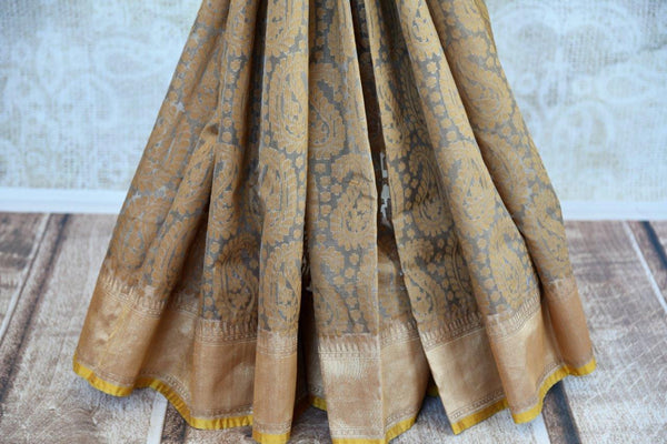 Buy brown organza Banarasi saree online from Pure Elegance. Our store in USA brings exclusively curated woven Indian Banarasi sarees online for women in USA. Shop now.-pleats