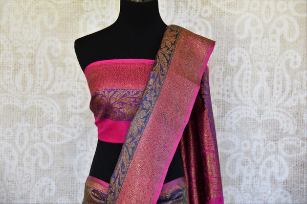 Buy green tassar Banarasi saree online from Pure Elegance with pink and purple border. Our store in USA brings exquisite woven Indian Banarasi saris online for women.-pallu