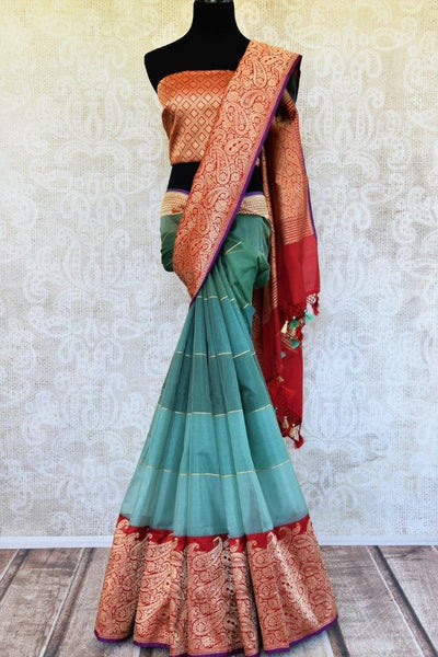 Buy rich blue Tissue Banarasi saree online with red heavy gold zari border. Pure Elegance store presents exquisite woven Indian Banarasi saris online for women in USA.-full view