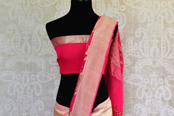 Buy pink georgette Banarasi sari online in USA with silver zari design. Shop from Pure Elegance Store's alluring range of designer Indian georgette sarees online.-pallu
