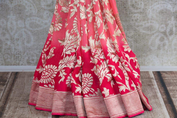 Buy pink georgette Banarasi sari online in USA with silver zari design. Shop from Pure Elegance Store's alluring range of designer Indian georgette sarees online.-pleats