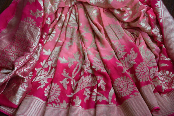 Buy pink georgette Banarasi sari online in USA with silver zari design. Shop from Pure Elegance Store's alluring range of designer Indian georgette sarees online.-details