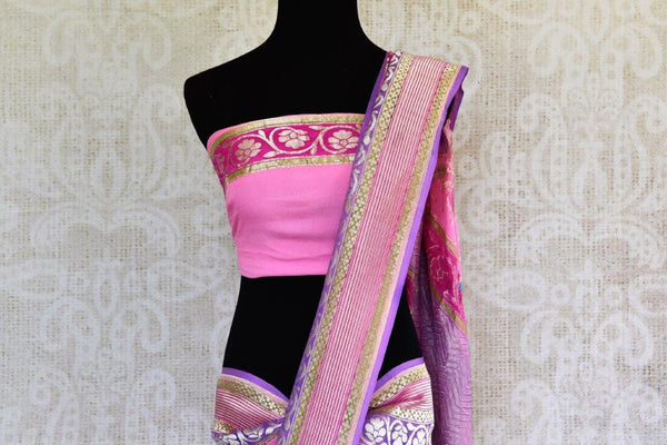 Buy pink Georgette Banarasi saree online in USA with zari border and floral buta. Pure Elegance store brings you woven Indian designer georgette saris online in USA.-pallu