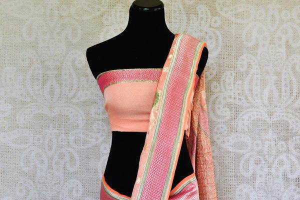 Buy light pink Georgette Banarasi sari online in USA with floral zari design. Pure Elegance store brings you hand woven Indian georgette sarees online in USA.-pallu