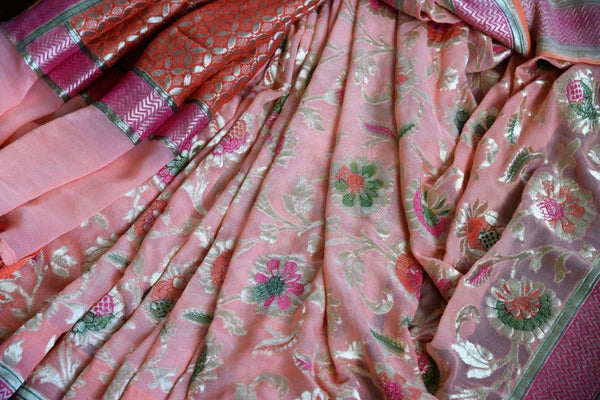 Buy light pink Georgette Banarasi sari online in USA with floral zari design. Pure Elegance store brings you hand woven Indian georgette sarees online in USA.-details