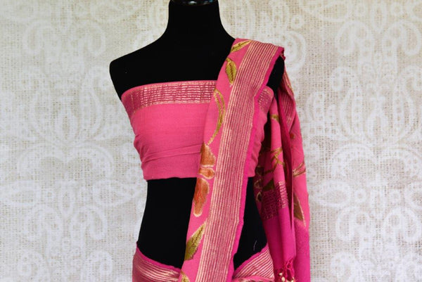 Buy hot pink Muga Banarasi saree online in USA with floral zari border. Pure Elegance store brings you exquisite woven Indian Muga Banarasi sarees online in USA.-pallu
