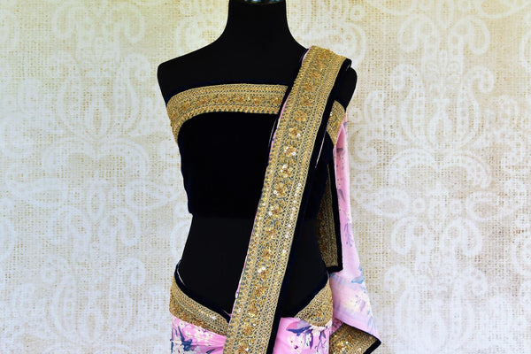 Buy pink floral Tussar Georgette Embroidered saree online in USA from Pure Elegance. Our store brings exquisite designer Indian sarees online for women in USA.-pallu