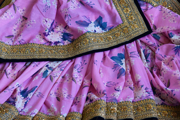 Buy pink floral Tussar Georgette Embroidered saree online in USA from Pure Elegance. Our store brings exquisite designer Indian sarees online for women in USA.-details
