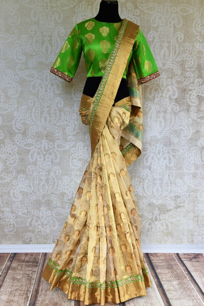 Buy gold tissue Banrasi embroidered saree online in USA with green Banarasi blouse from Pure Elegance. Shop from our store pure woven Indian Banarasi saris for women.-full view