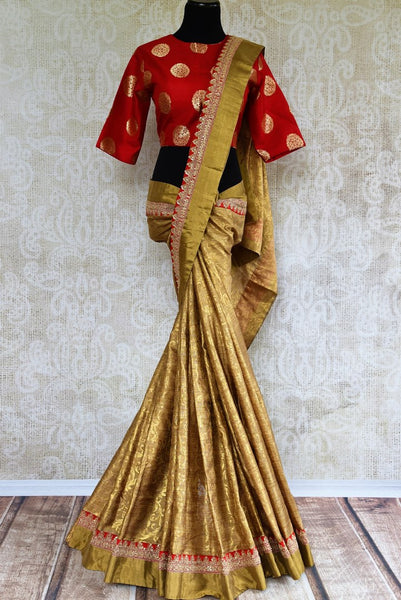 Buy gold tissue handloom embroidered saree online in USA with red Banarasi blouse from Pure Elegance. Shop from our store pure woven Indian sarees for women.-full view
