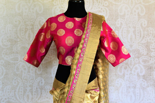 Buy beige gold Tissue Banarasi saree online in USA with pink Banarasi readymade blouse from Pure Elegance. Our store brings pure woven Indian sarees online for women.-pallu