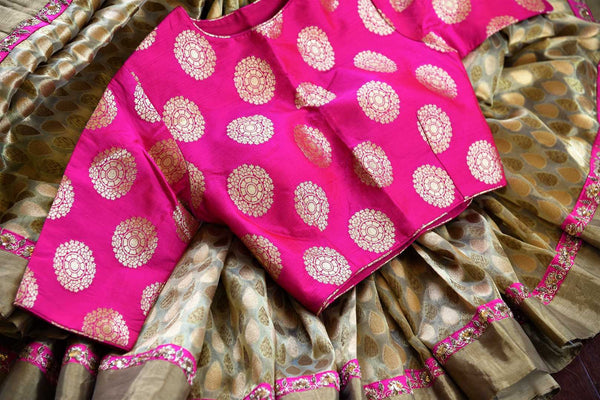 Buy beige gold Tissue Banarasi saree online in USA with pink Banarasi readymade blouse from Pure Elegance. Our store brings pure woven Indian sarees online for women.-details