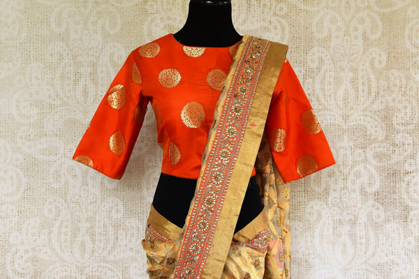 Buy beige gold Tissue Banarasi sari online in USA with embroidered border and blouse from Pure Elegance. Our store brings pure woven Indian sarees online for women.-pallu