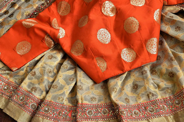Buy beige gold Tissue Banarasi sari online in USA with embroidered border and blouse from Pure Elegance. Our store brings pure woven Indian sarees online for women.-details