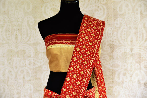 Buy cream silk Kota saree online in USA from Pure Elegance with gota patti embroidery. Our store brings woven  Indian Kota silk saris online in USA for weddings.-pallu