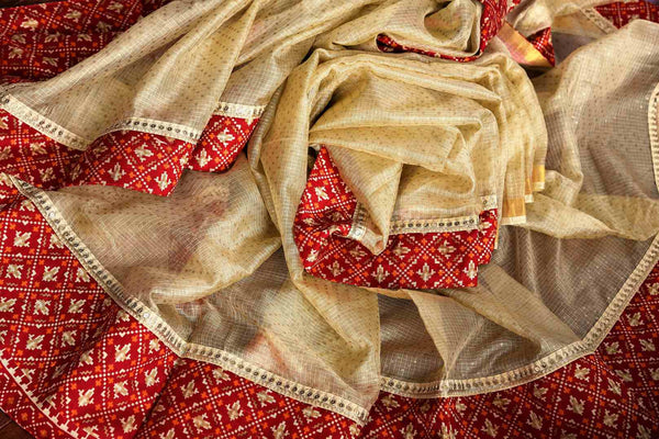 Buy cream silk Kota saree online in USA from Pure Elegance with gota patti embroidery. Our store brings woven  Indian Kota silk saris online in USA for weddings.-details
