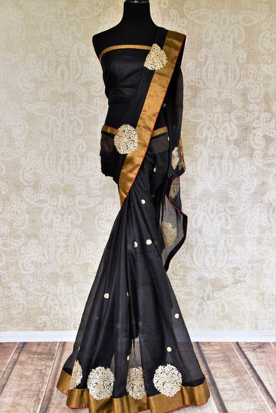 Buy black silk Kota saree online in USA from Pure Elegance with gota patti embroidery. Our store brings woven ethnic Indian Kota saris online in USA for weddings.-full view