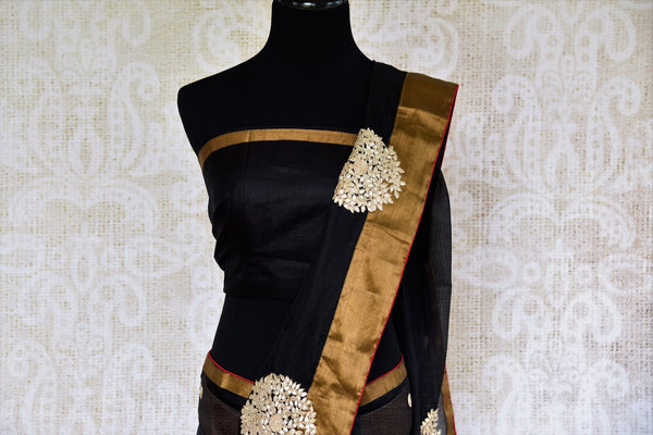 Buy black silk Kota saree online in USA from Pure Elegance with gota patti embroidery. Our store brings woven ethnic Indian Kota saris online in USA for weddings.-pallu