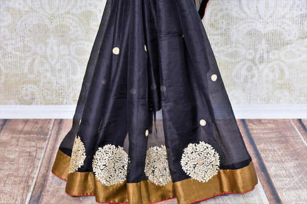 Buy black silk Kota saree online in USA from Pure Elegance with gota patti embroidery. Our store brings woven ethnic Indian Kota saris online in USA for weddings.-pleats