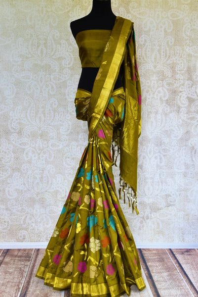 Buy elegant green Jamdani uppada silk sari online in USA. Pure Elegance presents an alluring range of woven Indian sarees online and in store in USA for various occasions.-full view
