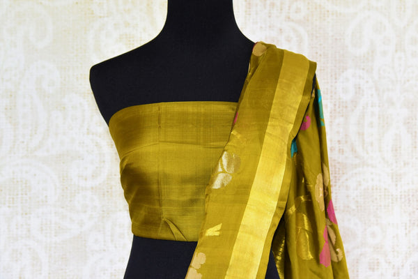 Buy elegant green Jamdani uppada silk sari online in USA. Pure Elegance presents an alluring range of woven Indian sarees online and in store in USA for various occasions.-pallu