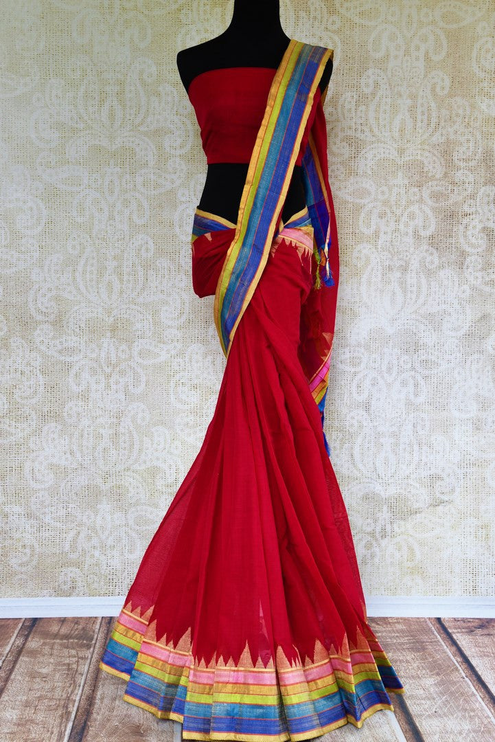 Buy red khaddi silk saree online in USA with multicolor silk border. Pure Elegance store brings exquisite range of woven Indian sarees online for every occasion.-full view