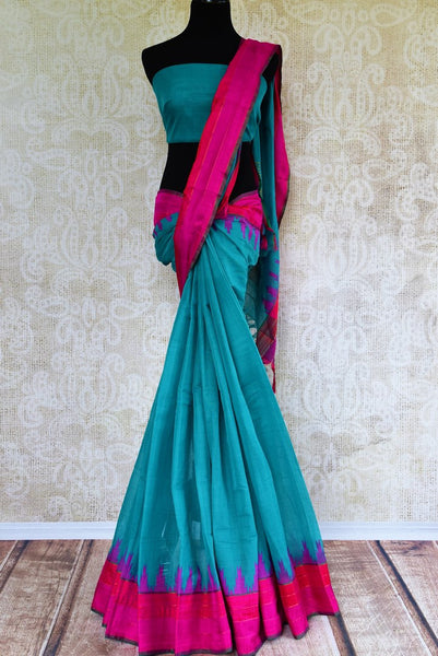 Pure Elegance store brings exquisite range of woven Indian khaddi saris online for every occasion. Buy blue khaddi silk saree online in USA with pink border for casual occasions. -full view