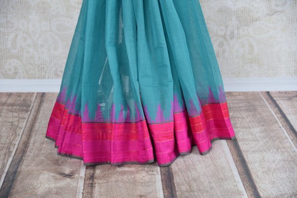 Pure Elegance store brings exquisite range of woven Indian khaddi saris online for every occasion. Buy blue khaddi silk saree online in USA with pink border for casual occasions. -pleats