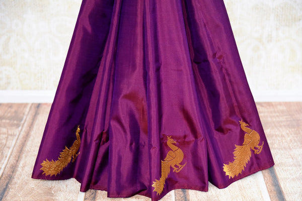 Buy dark purple Kanjeevaram silk saree online USA from Pure Elegance. Grab wove ethnic Indian Kanchipuram silk sarees from our store Indian fashion store in USA.-pleats