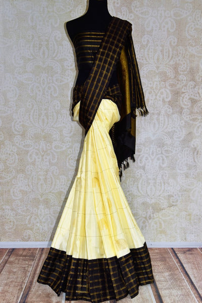 Buy offwhite Kanjeevaram silk sari online in USA from Pure Elegance. Grab woven Indian Kancheepuram silk sarees from our store Indian fashion store in USA.-full view