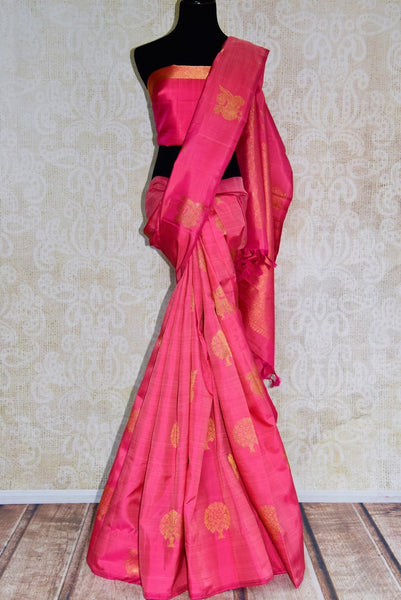 Buy elegant pink Kanjeevaram silk saree online in USA from Pure Elegance. Our store brings you an exclusive range Indian woven silk Kanchipuram saris online USA.-full view