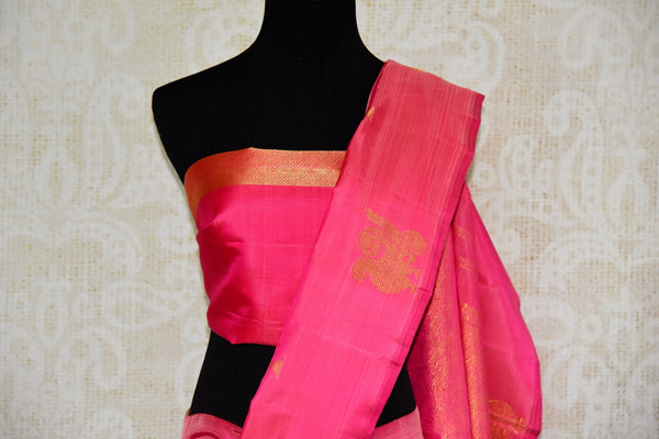 Buy elegant pink Kanjeevaram silk saree online in USA from Pure Elegance. Our store brings you an exclusive range Indian woven silk Kanchipuram saris online USA.-pallu