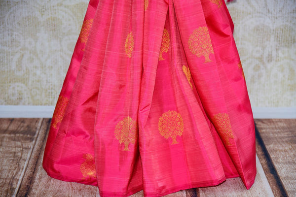 Buy elegant pink Kanjeevaram silk saree online in USA from Pure Elegance. Our store brings you an exclusive range Indian woven silk Kanchipuram saris online USA.-pleats