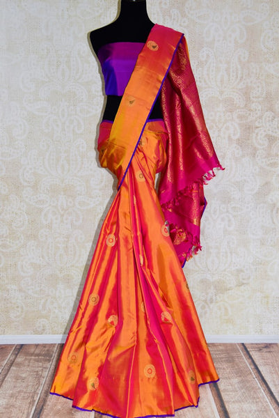 Buy vibrant orange Kanjivaram silk saree online in USA from Pure Elegance. Grab ethnic Indian Kanchipuram silk sarees from our store Indian fashion store in USA.-full view