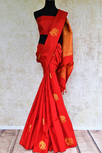 90E366 Red Kanjivaram Silk Saree with Elephant Zari Buta and Zari Pallu