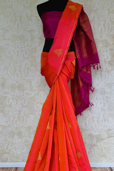 Buy pink and purple Kanjivaram silk saree online USA with zari buta from Pure Elegance. Our store brings an alluring range of Indian Kanchipuram sarees in USA.-full view