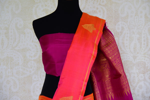 Buy pink and purple Kanjivaram silk saree online USA with zari buta from Pure Elegance. Our store brings an alluring range of Indian Kanchipuram sarees in USA.-pallu