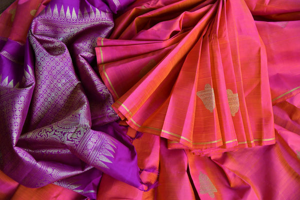 Buy pink and purple Kanjivaram silk saree online USA with zari buta from Pure Elegance. Our store brings an alluring range of Indian Kanchipuram sarees in USA.-details